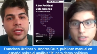 "Profesor Francisco Urdinez junto a estudiante de postgrado, Andrés Cruz, nos presentan libro ""R for Political Data Science"""